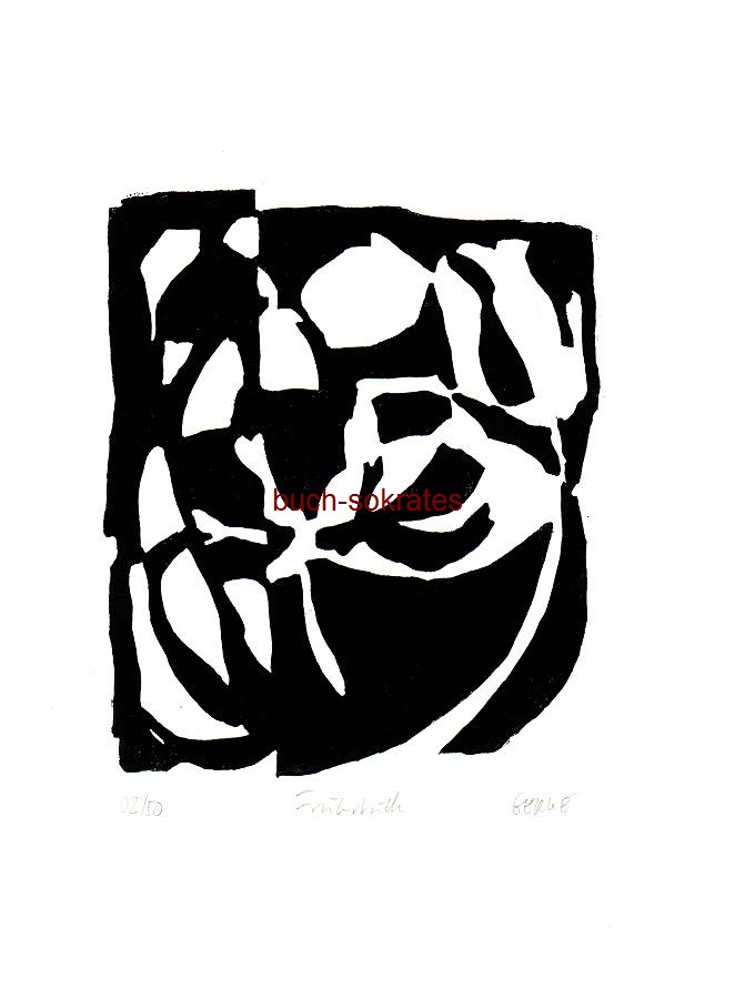 Original-Linolschnitt: o.A.: Frühstück bei Tiffany (Rose) - Monochrome (s/w), halb-abstrakte Darstellung eines runden Frühstückstisches (2015)