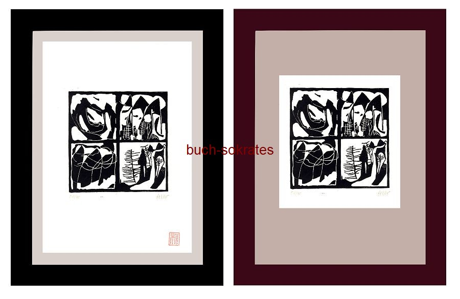 Original-Linolschnitt Alpine Tropen oder Langnese Dolomiti - Linocut / gravure sur linoléum (2017)