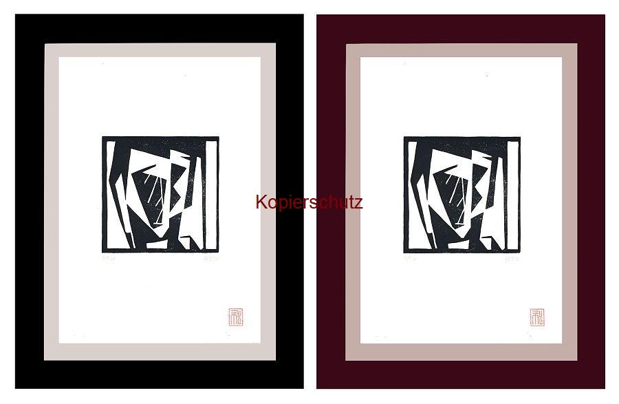 Original-Linolschnitt Marco Gerke: Selbst im Spiegelschrank (2019)
