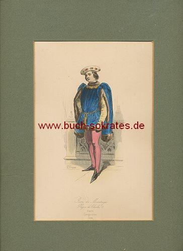 kolorierte Original-Graphik Mann in mittelalterlicher Kleidung - Regne de Charles VI. (ca. 1862)