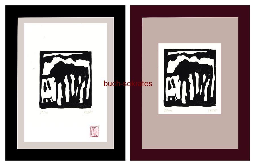 Original-Linolschnitt Marco Gerke: Toskanisches Haus (2018)