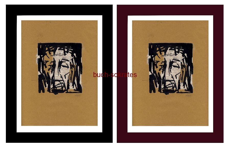 Original-Linolschnitt Ecce homo / Jesus mit Dornenkrone / Schmerzensmann - Linocut / gravure sur linoléum (2016)