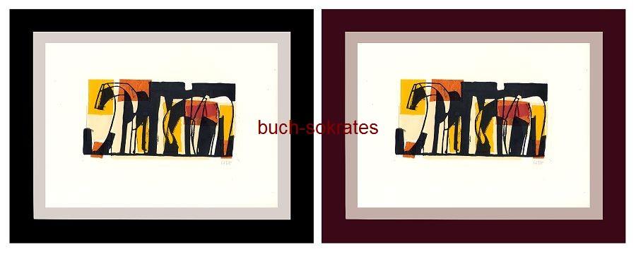 Original-Linolschnitt Collage Pferde - Linocut, gravure sur linoléum (2017)
