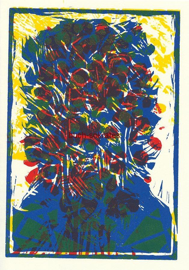 Graphik Original-Farblinolschnitt Inge Karsch: Selbst hinter Blüten (2009)