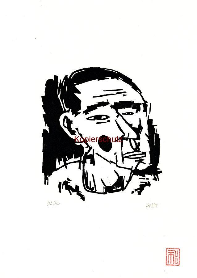 Original-Linolschnitt Marco Gerke: Muttermal (2019)