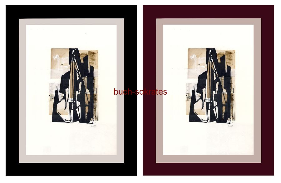 Original-Linolschnitt Collage Cello / Kontrabass / Violoncello - Linocut, gravure sur linoléum (2017)