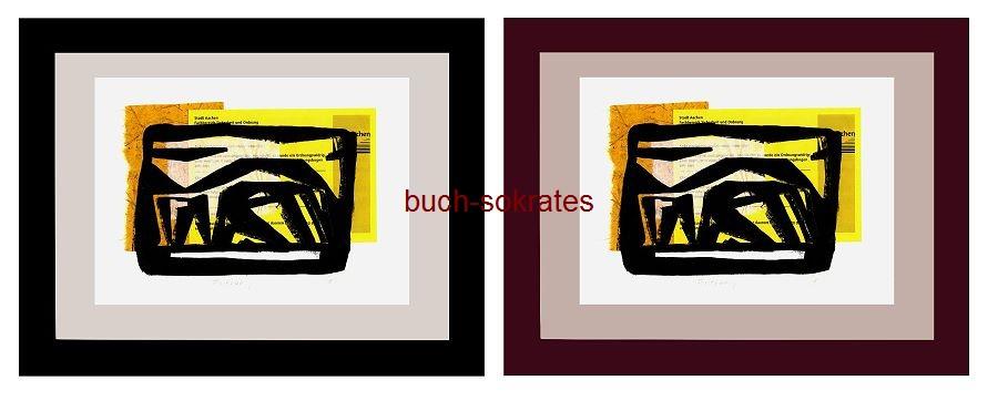 Original-Linolschnitt Frittezang (= Bushaltestelle in Aachen / Friedrich-Wilhelm-Platz (Elisenbrunnen) - Peter Eisenman - Linocut / gravure sur linoléum (2016)