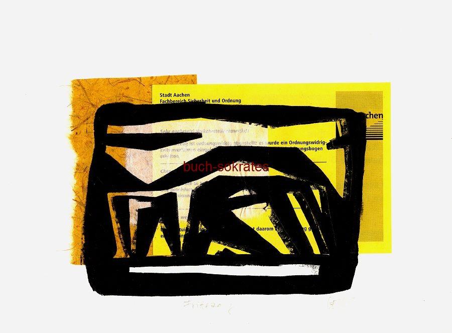 Original-Linolschnitt Collage Frittezang (= Bushaltestelle in Aachen / Friedrich-Wilhelm-Platz (Elisenbrunnen) - Peter Eisenman - Linocut / gravure sur linoléum (2016)