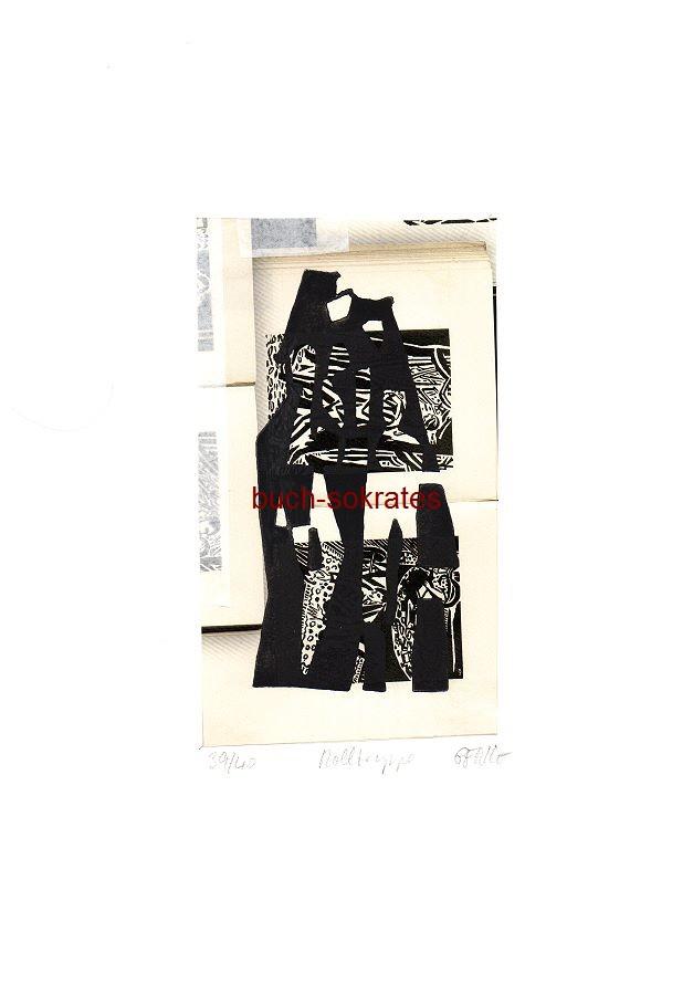 Original-Linolschnitt: Rolltreppe - Druck auf Ausschnitt aus e. Prospekt (KW15/16)