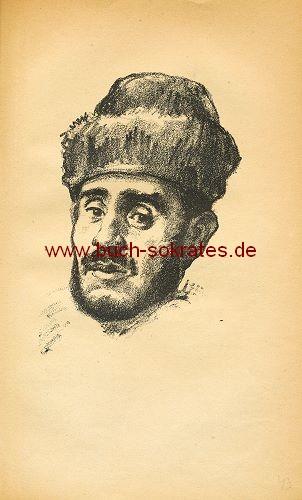 Lithographie Hermann Struck: Junger Jude mit Pelzmütze (1918)