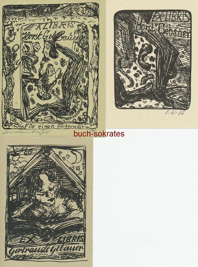 Exlibris für Horst / Gertraude Gebauer: Claus Weidensdorfer: Für einen Bücherwurm - Buch mit Bücherwurm - Frau, ein Buch lesend (1985-88)
