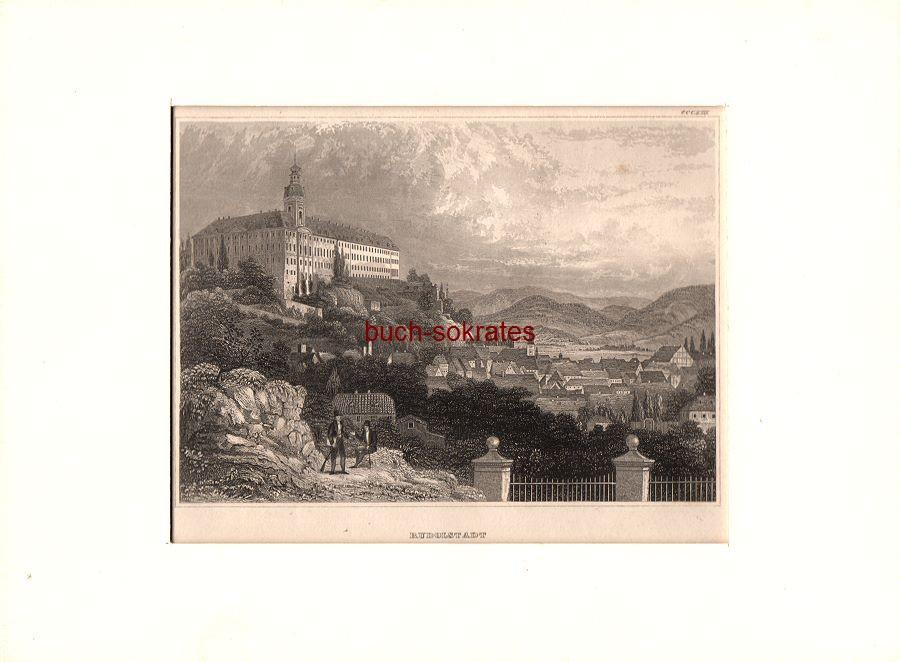 Original-Graphik / Stahlstich - Rudolstadt (Thüringen): Ansicht mit Residenzschloss u. Blick über die Stadt (ca. 1850)