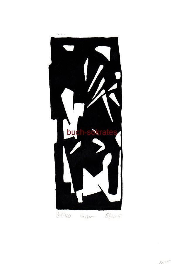 Original-Linolschnitt: o.A.: Passion. Monochrome (s/w) Darstellung eines Stiers, beim Stierkampf / Corrida von etlichen Spießen im Rücken malträtiert (2015)