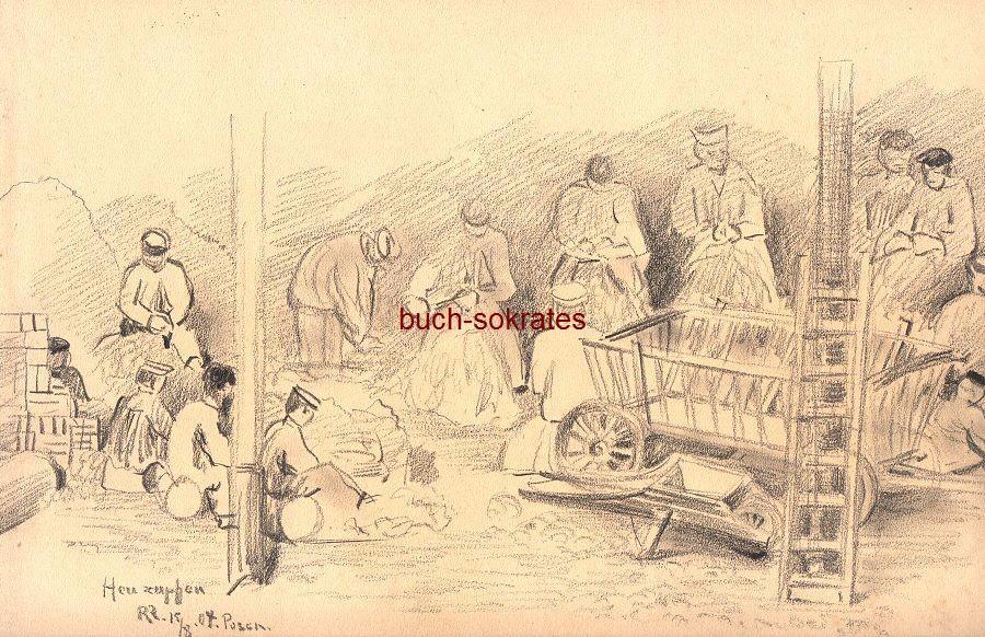 Original-Graphik / Handzeichnung: Monogrammist (RR): Heuzupfen Posen / 15.08.04 - Darstellung Landarbeiter in der Scheune bei der gemeinschaftlichen Arbeit (1904)