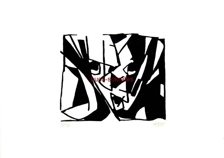Original-Linolschnitt Clown (Hommage an Tappert) - Linocut / gravure sur linoléum (2017)