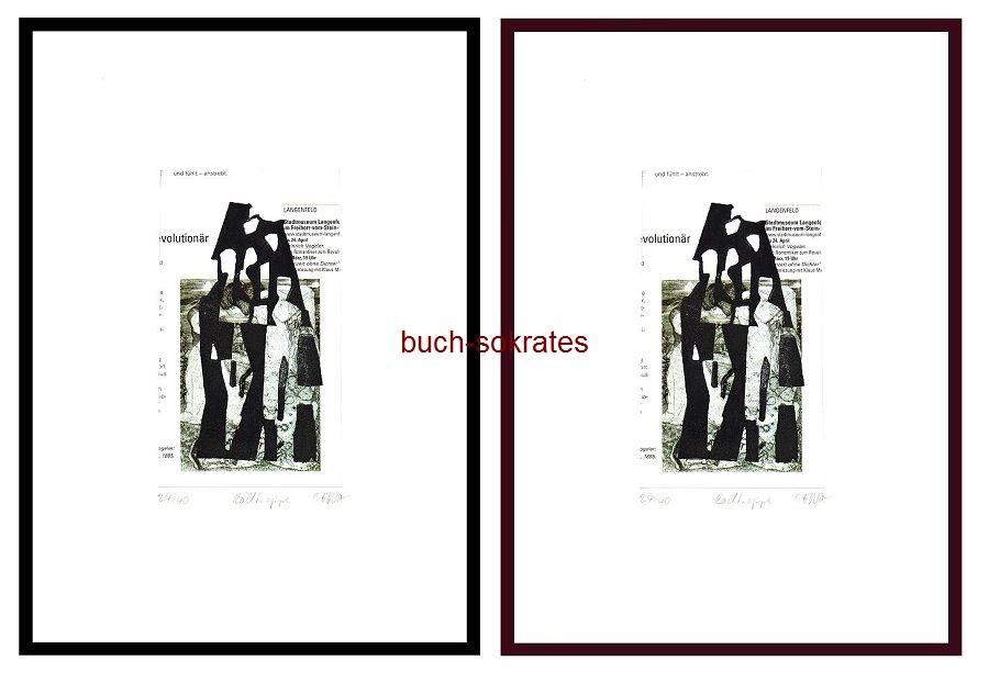 Original-Linolschnitt: Rolltreppe - Druck auf Ausschnitt aus e. Kunst-Magazin (AF-16/2)