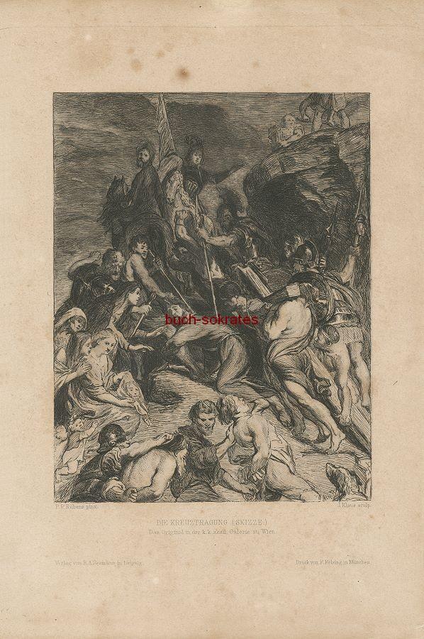 Konvolut 37 Graphiken, u.a. Die Kreuztragung - P.P. Rubens pinx; J. Klaus sculp.; Druck von F. Felsing
