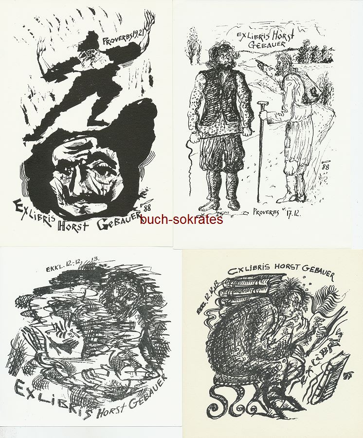 Jurij W. Kusnetzow (RUS): 7 versch. Exlibris für Horst Gebauer: 6 Biblische Motive + 1 Porträt Mann mit Vollbart (1987/88)