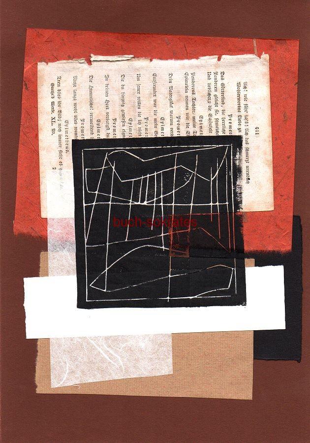 Original-Linolschnitt: Gewitter, nach e. Gedicht von Heinrich Heine - Collage (2016)