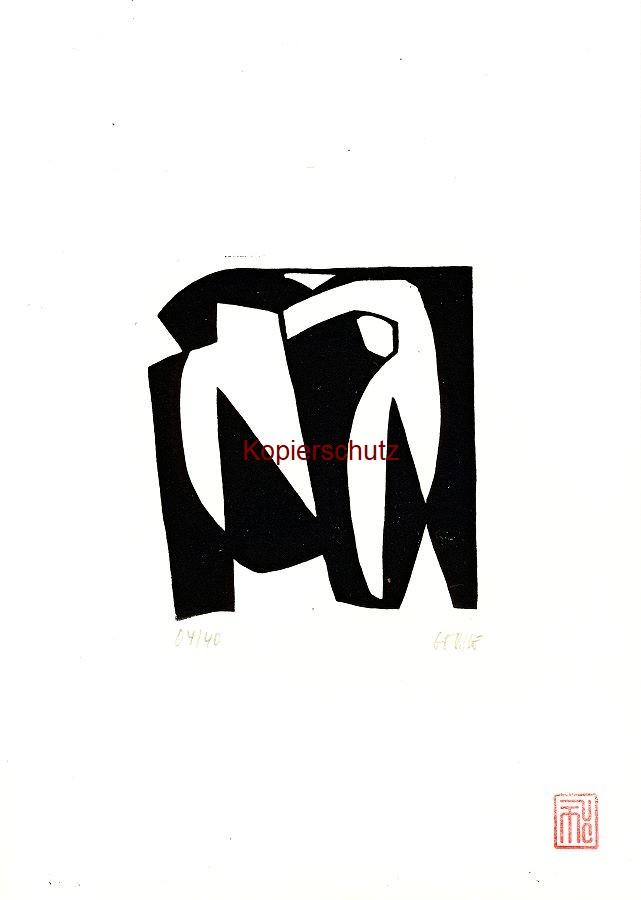 Original-Linolschnitt Marco Gerke: Strandläufer (2019)
