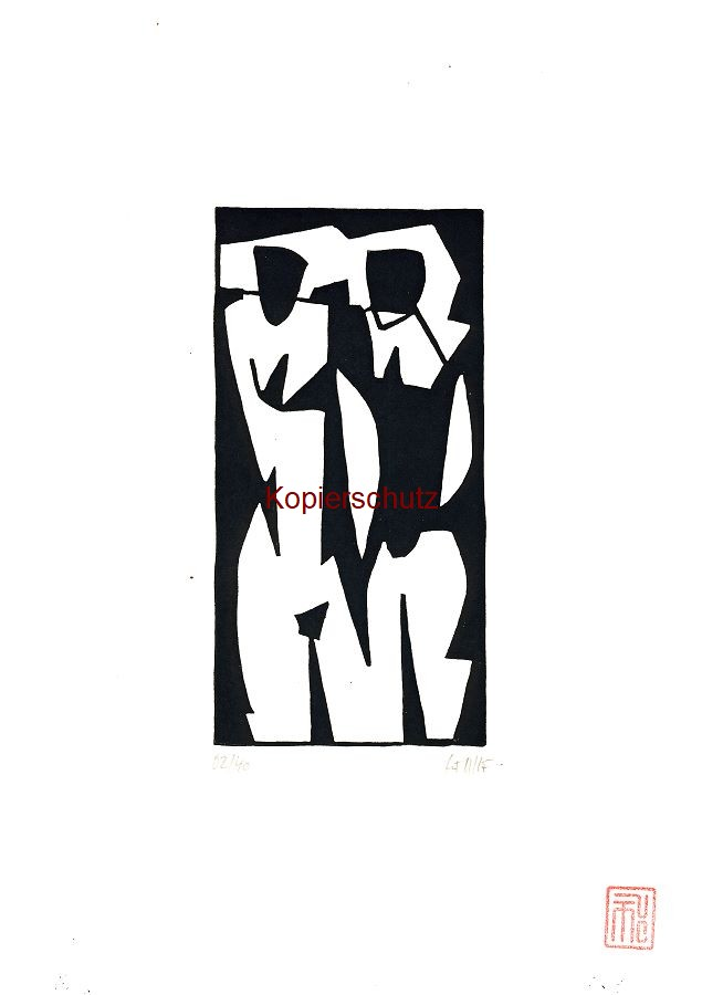 Original-Linolschnitt Marco Gerke: Freundinnen (2019)