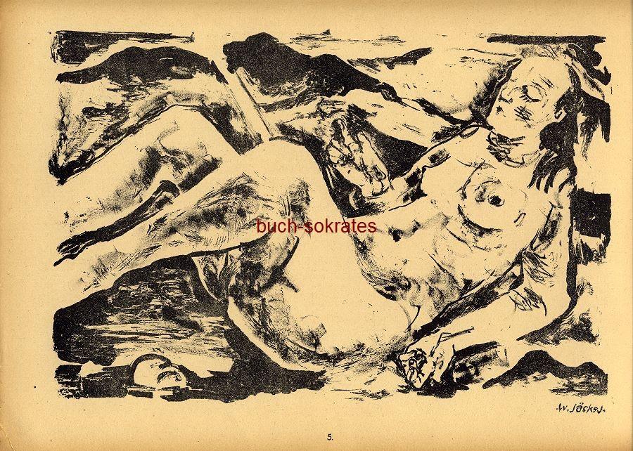 Original-Graphik Lithographie Willy Jaeckel: Weiblicher Akt (1919)