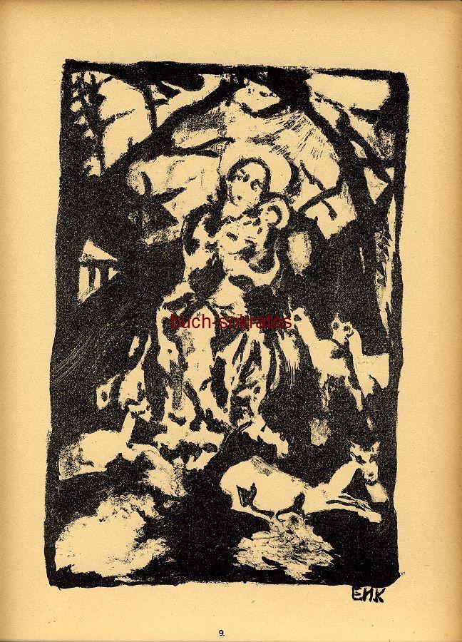 Original-Graphik Lithographie Erika M. Künzig: Die Muttergottes mit den Rehen (1919)