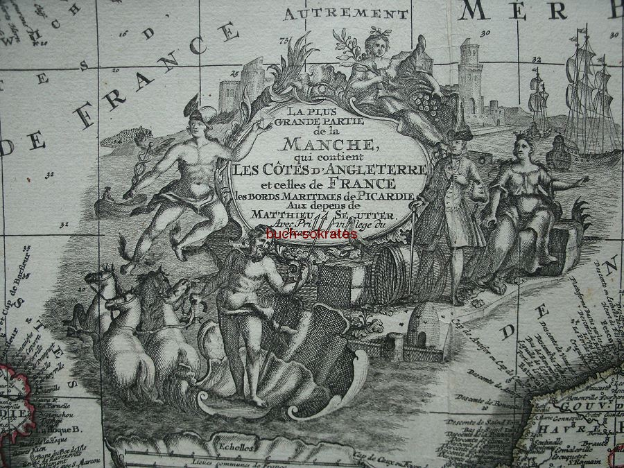 Graphik Karte von Matthäus Seutter vom Ärmelkanal: La plus grande partie die la Manche (ca. 1750)