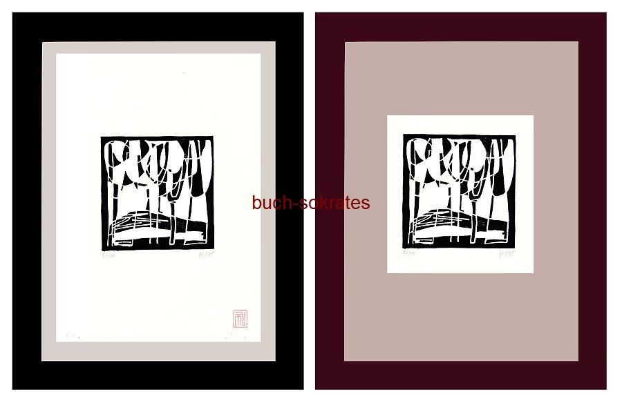 Original-Linolschnitt Marco Gerke: Pappelweg, etwas überbelichtet (2018)