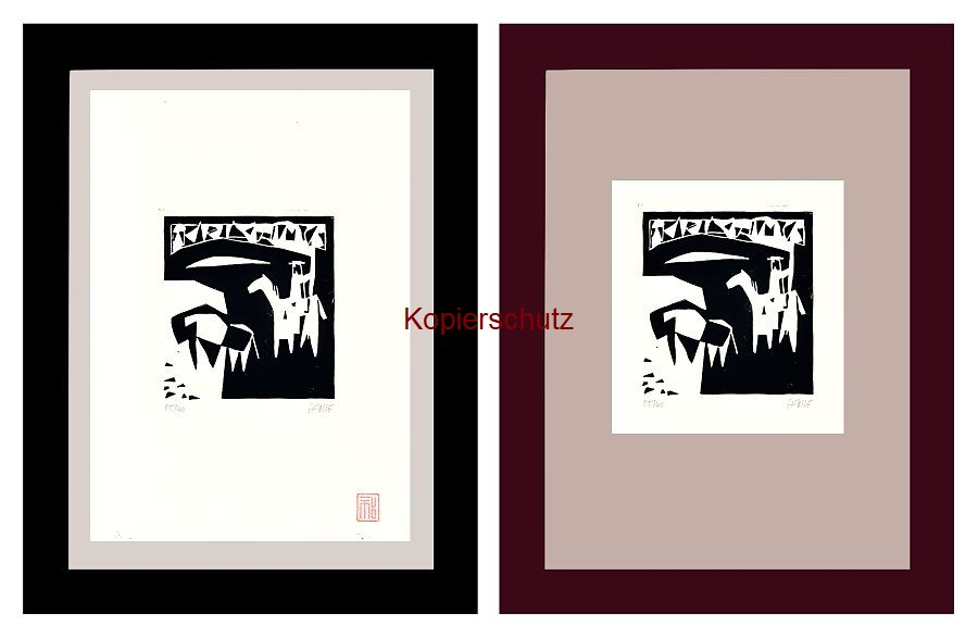 Original-Linolschnitt Marco Gerke: Stierkampf - sol y sombra (2019)