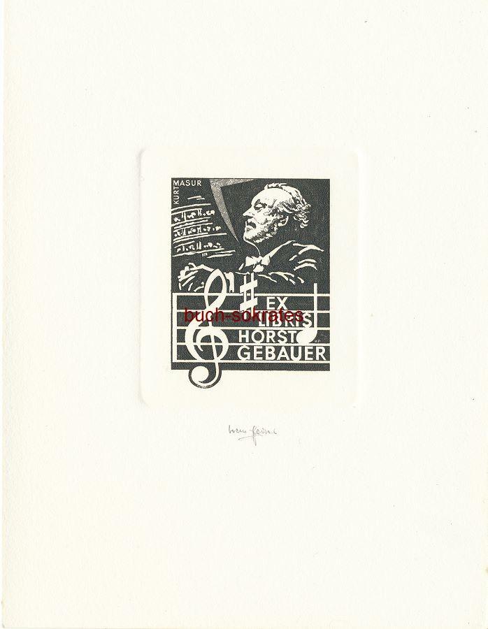 Werner Pfeiler: Exlibris für Horst Gebauer - Porträt des Dirigentem Kurt Masur im Profil (ca. 2000)
