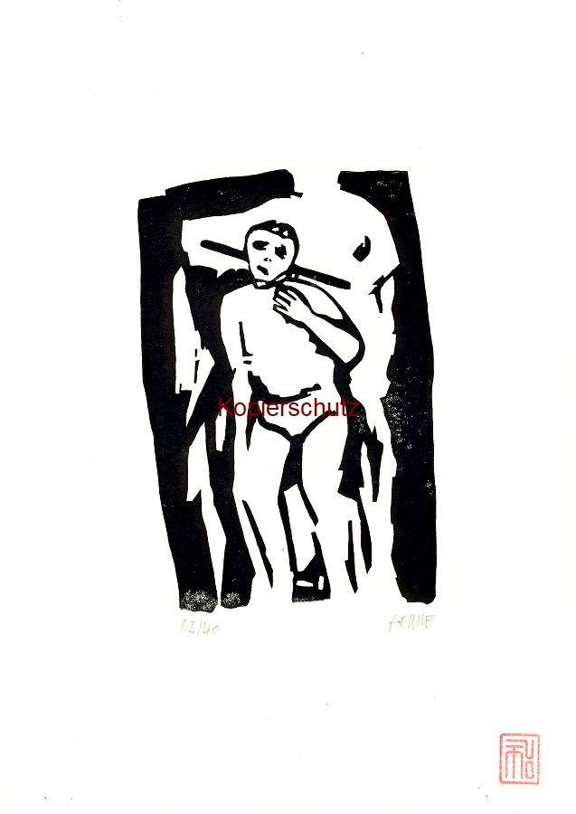 Original-Linolschnitt Marco Gerke: Neue Welt (Atahualpa) (2020)