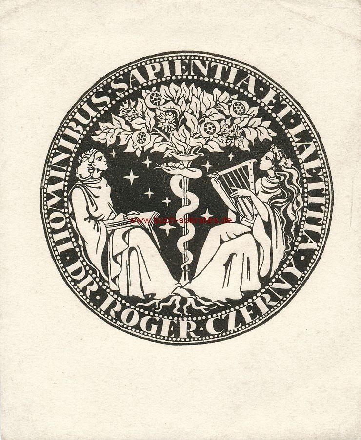 Exlibris Dr. Roger Czerny - Hominibus, Sapientia et Laetitia - Original-Graphik