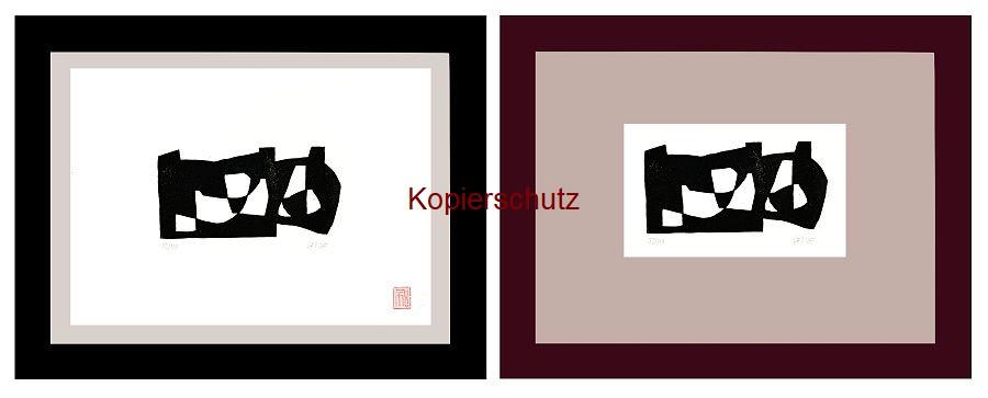 Original-Linolschnitt Marco Gerke: Hühnerhaufen (2019)