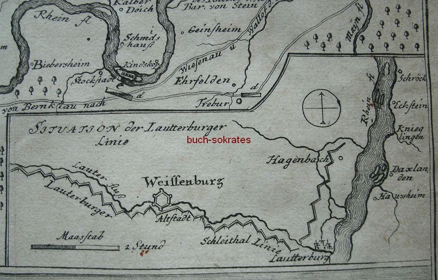 Graphik Karte Geographische vorstellung des Rhein-Stroms von Schröck biß nach Mayntz (heute Eggenstein-Leopoldshafen bis Mainz) (1744)