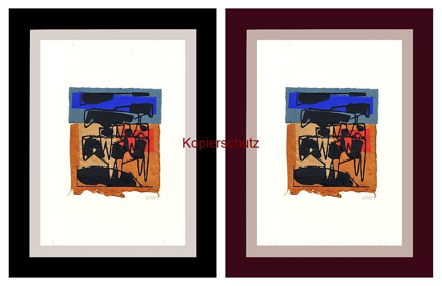 Original-Linolschnitt - Marco Gerke: Kühen (2019)