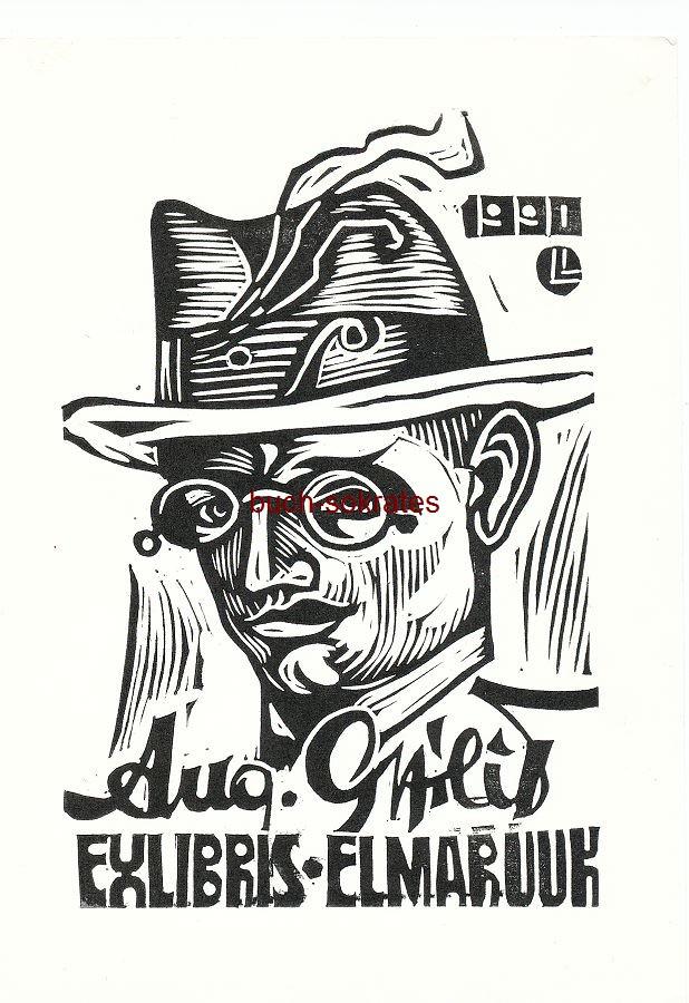 Exlibris Lembit Lepp / Lepä Lembit für Elmar Uuk - Männerkopf Porträt August Gailit (1990)