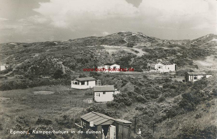 Ansichtskarte Egmond aan Zee (Nordholland) - Kampeerhuisjes in de duinen (ca. 1965)