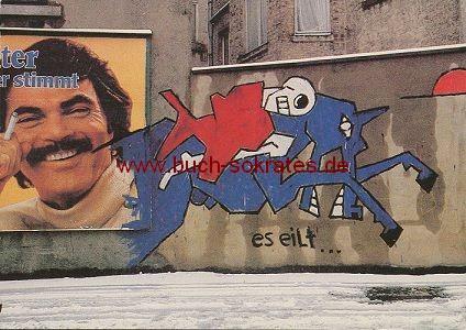 Postkarte Reiter Es eilt ... Reihstraße Aachen Wandmalerei Graffiti