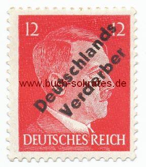 Briefmarke 12 Pfennig Hitlerkopf Deutsches Reich mit Aufdruck Deutschlands Verderber / Lokalausgabe Meißen