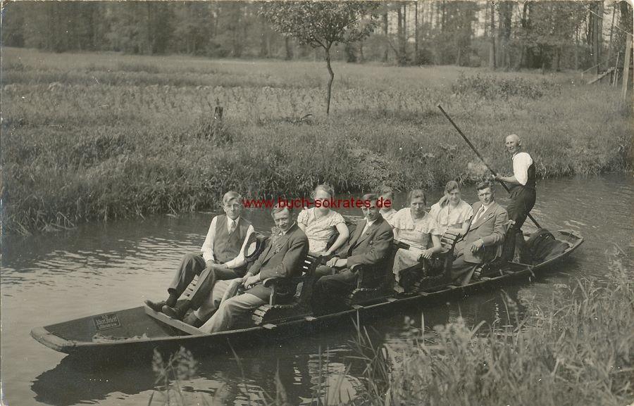 s/w-Foto-Postkarte Gesellschaft aus Berlin im Ausflugsboot (1935)