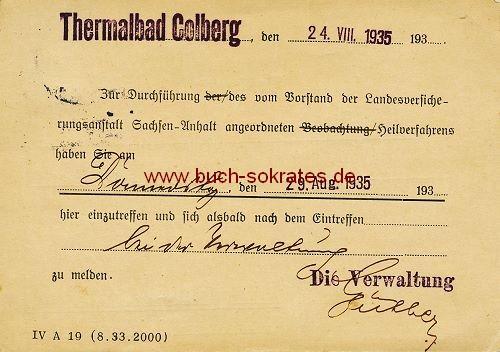 Postkarte Thermalbal Colberg / Bad-Colberg-Heldburg / Thüringen - 1935