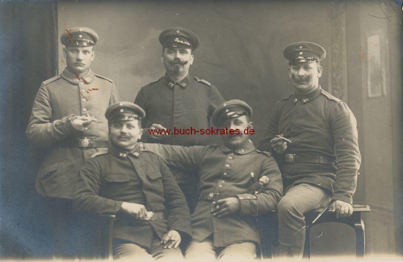 s/w-Foto-Postkarte Gruppe von 5 Soldaten aus Stolberg Rhld. - 29. Regiment (ca. 1915)