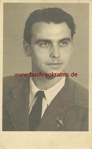 s/w-Foto-Postkarte junger Mann / Franzose aus Steinbergen (1944)