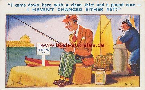 Ansichtskarte Angler Englische Humorkarte