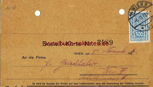 Postkarte Firma Chemosan AG, Wien - Bestellung von Chemosan Parfum (1923)
