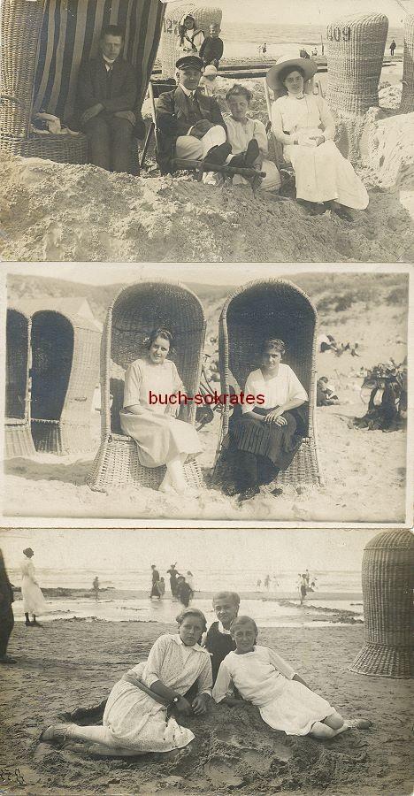 Foto Menschen / Sommerfrischler am Strand mit Strandkörben (1909-22)