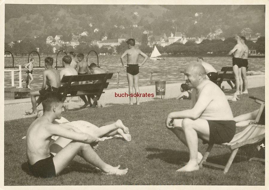 Foto Badegäste in Bregenz am Bodensee (1939)