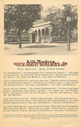 Postkarte Text Lili Marleen. Vor der Kaserne, vor dem großen Tor