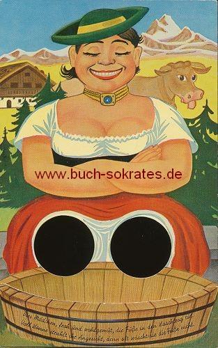 Ansichtskarte Finger-Durchsteck-Karte / Effektkarte Humorkarte Bayern Alm